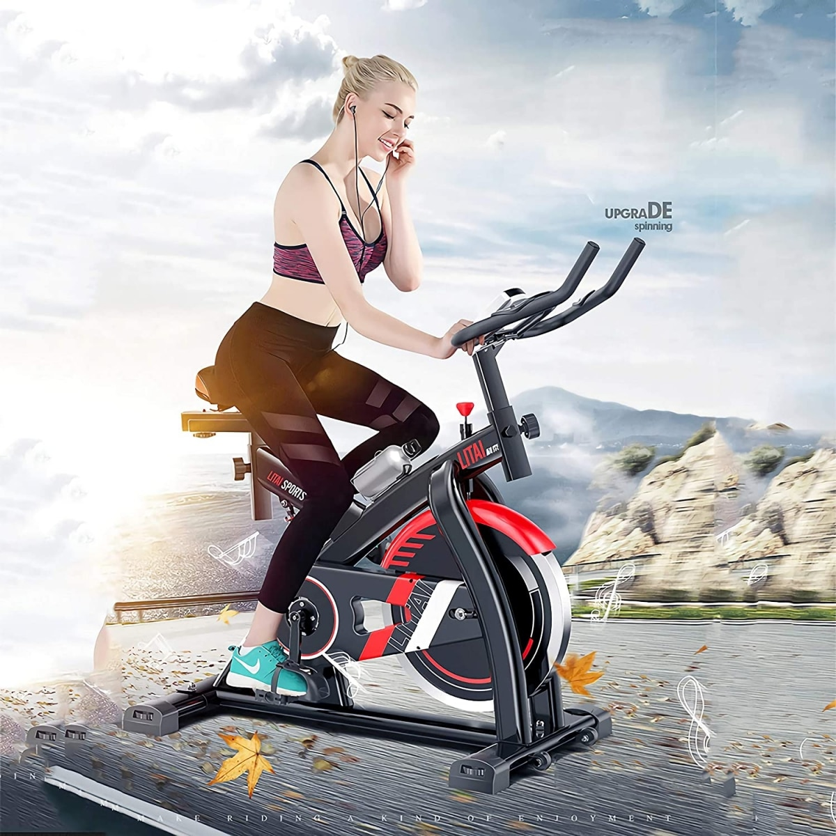 Bici de spinning y chica